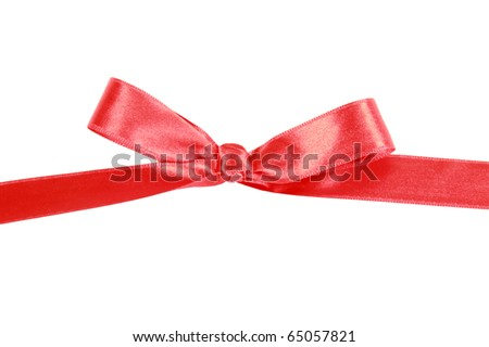Red satin ribbon gift bow isolated on white background