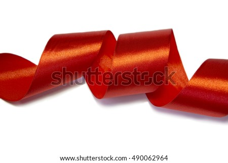 Red satin ribbon isolated  on a white background.