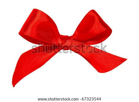 Red satin ribbon isolated on white background - stock photo