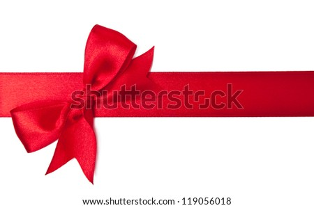 Red satin ribbon on white background - stock photo