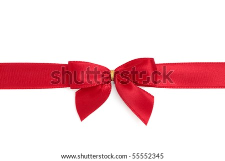 Red satin ribbon with bow isolated over white background.