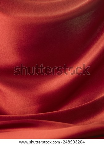 red satin with soft curve line - stock photo
