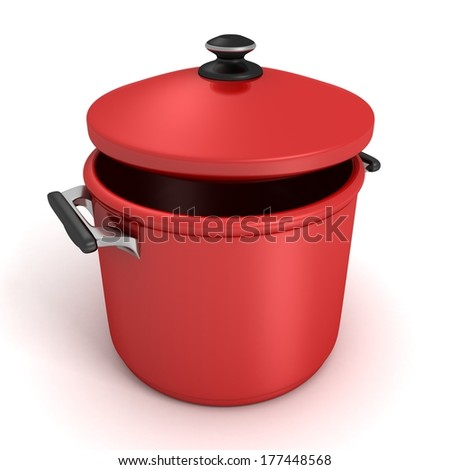 Red saucepan with cover on white background - stock photo