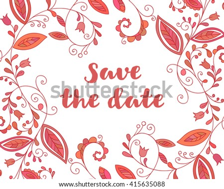 Red save the date card with floral element and inscription in doodle style. Hand drawn flourish border or frame for banner, calendar, poster, postcard, greeting card. Raster copy of vector file. - stock photo