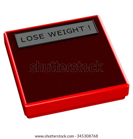 Red scale with words lose weight, isolated on white background.