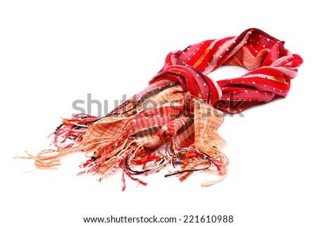 Red scarf with tassels, isolated on white background. - stock photo