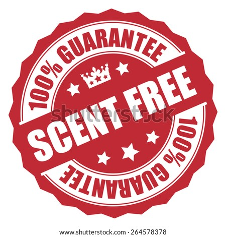 Red Scent Free 100% Guarantee Badge, Banner, Sign, Tag, Label, Sticker or Icon Isolated on White Background - stock photo