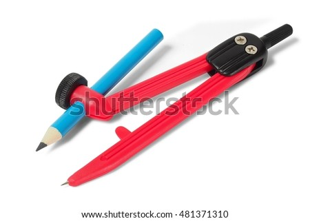 Red school compasses with pencil on white background