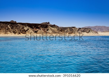 Red sea and island Tiran in Egypt. Sea view.