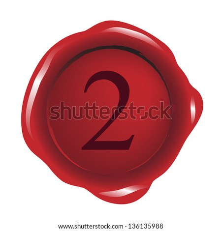 Red seal wax with number 2 - stock photo