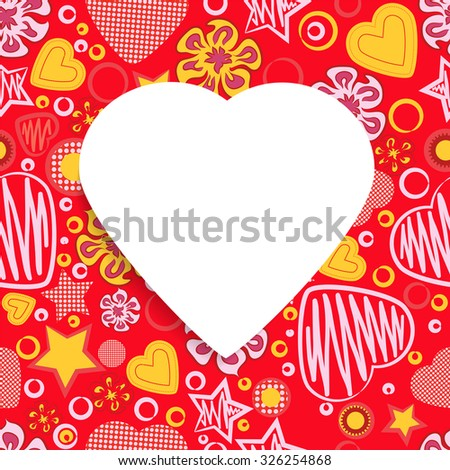 Red Seamless Pattern with Flowers, hearts, stars and a White Paper Heart Symbol in the middle. Happy Valentine's Day. - stock photo