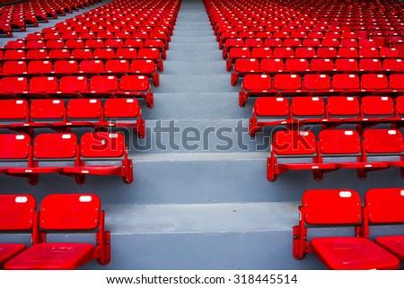red seat - stadium row  - stock photo