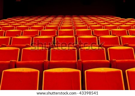 Red seats rows - stock photo