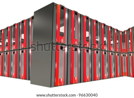 Red Servers Racks Isolated on Solid White Background. Hosting and Networking Theme. - stock photo