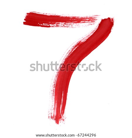 Red Seven isolated on white background. Number 7 painting stroke sketch. One from collection set.