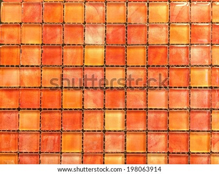 red shade mosaic Tiles background - stock photo
