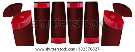 Red shampoo bottles isolated