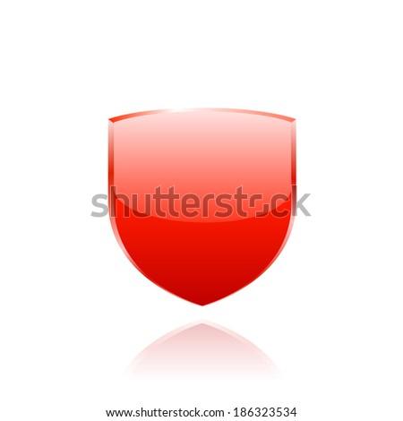 Red shield. Raster copy. - stock photo