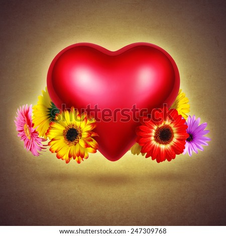 Red shining heart with colorful flowers hovering over textured yellow background - stock photo