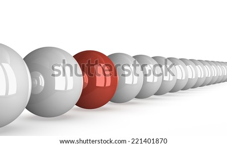 Red shiny ball in row of white ones isolated on white, perspective view - stock photo