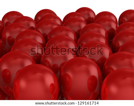 Red shiny balloons crowd on white background.