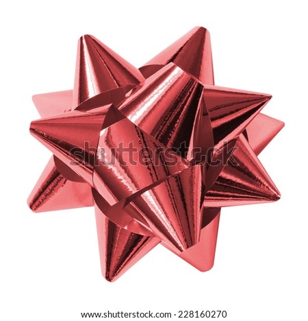 Red shiny gift bow isolated on the white - stock photo