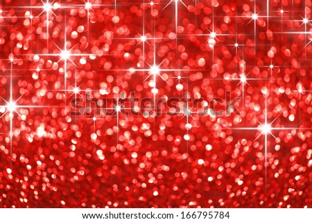 Red shiny glitter stars holiday beautiful background - stock photo