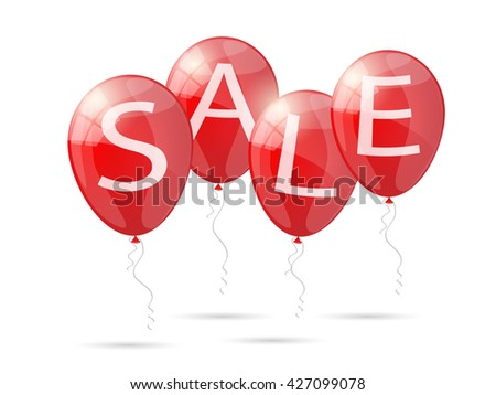 Red shiny glossy balloons discounts. Sale balloons. Illustration. - stock photo