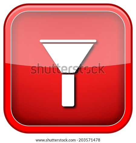 Red shiny glossy icon on white background. - stock photo