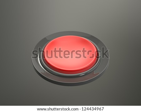 Red shiny pressed button on dark background.