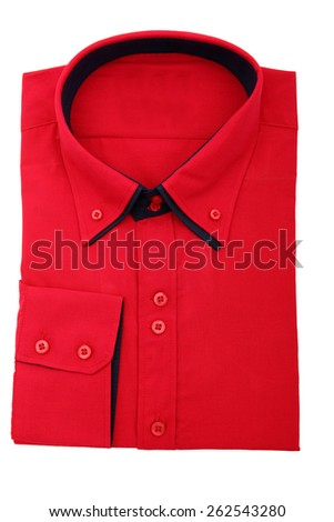 red shirt isolated on white background - stock photo