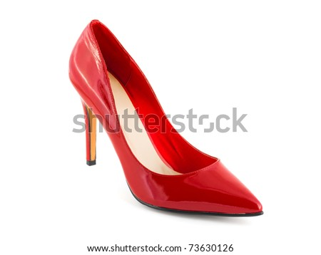 Red shoe isolated on white background - stock photo