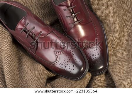 Red shoe - man casual shoe - stock photo