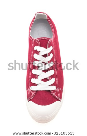 Red shoe man isolated on white background