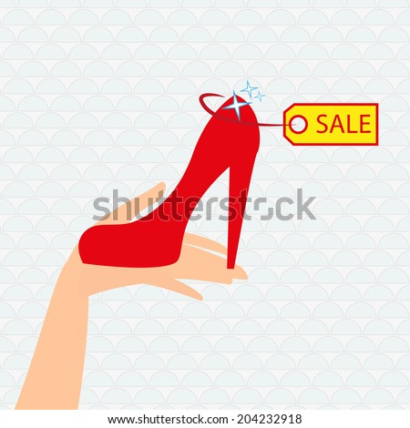 Red shoe presentation for sale - illustration - stock photo