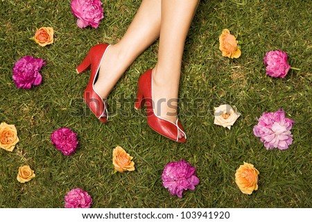 red shoes and flowers - stock photo