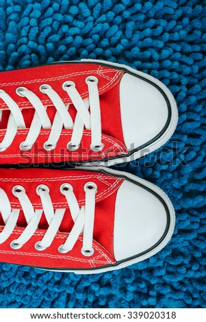 red shoes, comfortable shoes, Retro style - stock photo