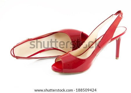 Red shoes isolated on a white background - stock photo
