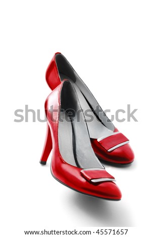 Red shoes isolated on white - stock photo