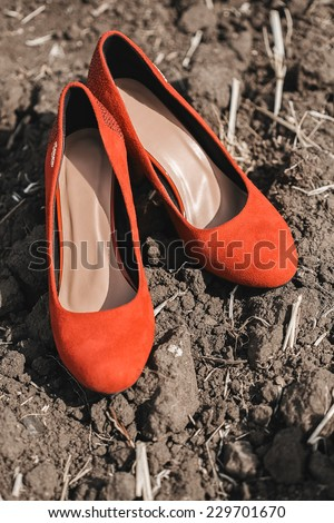 red shoes on the brown ground