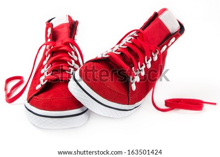 red shoes on white background