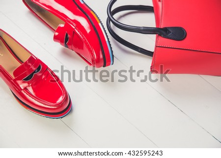 red shoes, stylish patent leather shoes