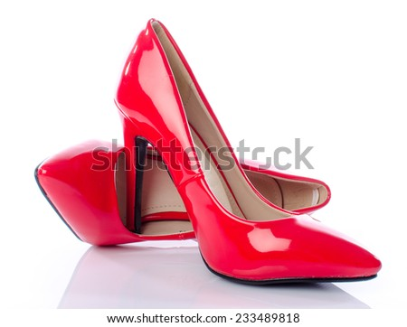 Red shoes with high heels, isolated on white - stock photo