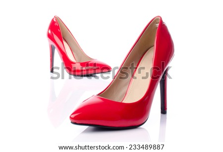 Red shoes with high heels, isolated on white