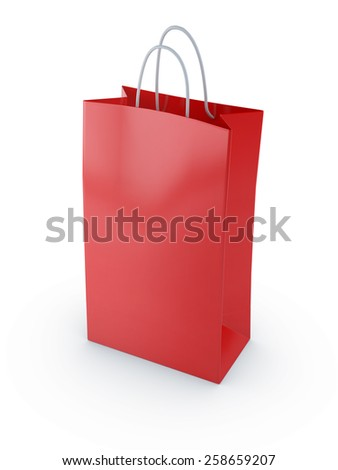 red shopping bag 3d render isolated on white background