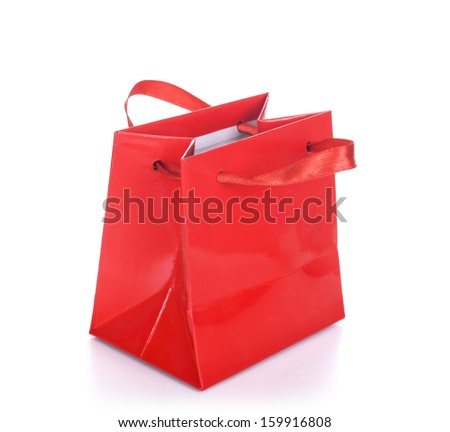Red shopping bag isolated on a white background - stock photo