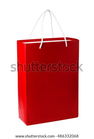 Red shopping bag isolated on the white background