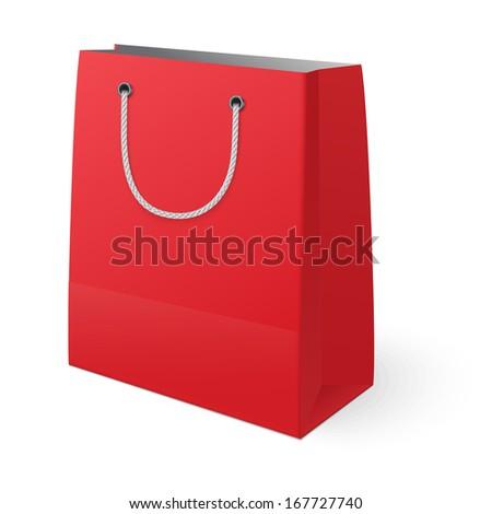 Red shopping bag isolated on white background. Raster version illustration. - stock photo