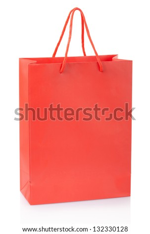 Red shopping bag isolated on white, clipping path included