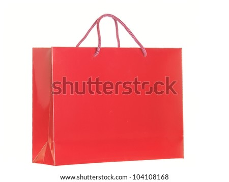 red shopping bag isolated over white background - stock photo